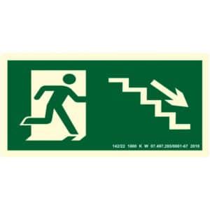 Placa de Sinalização Escada Desce para Direita