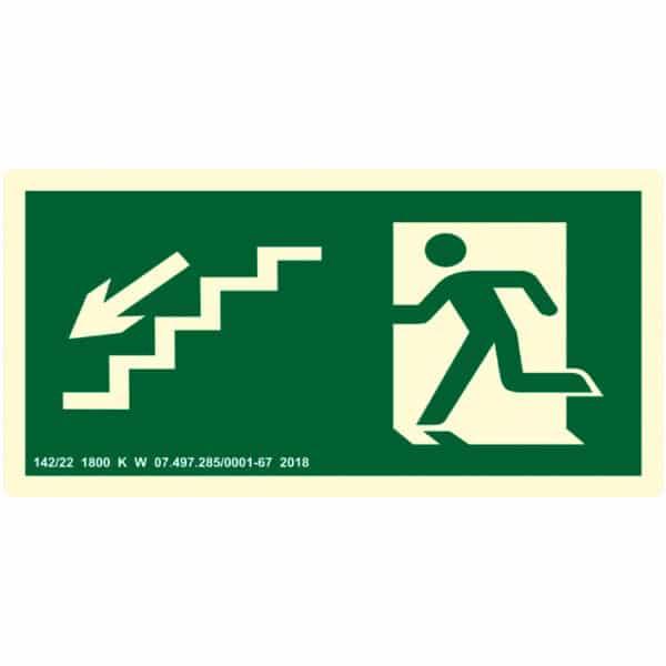 Placa de Sinalização Escada Desce para Esquerda