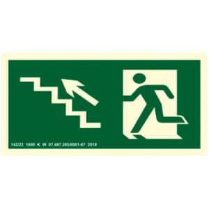 Placa de Sinalização Escada Sobe para Esquerda