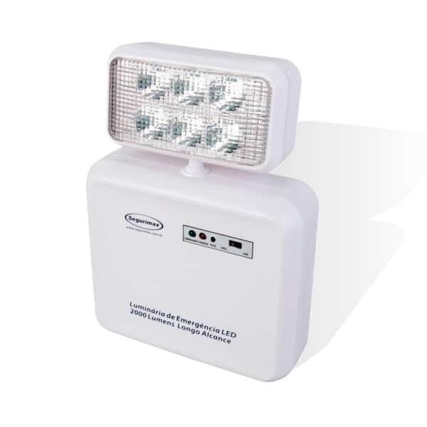Iluminação de Emergência LED 1 farol 2000 lúmens