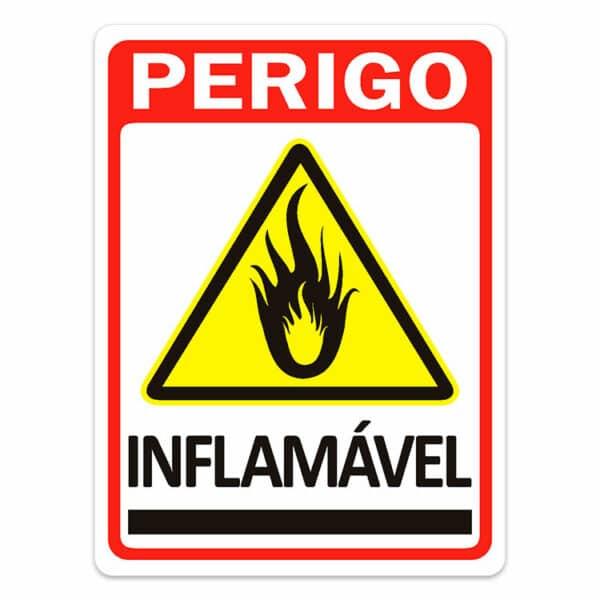Placa de Sinalização Perigo Inflamável