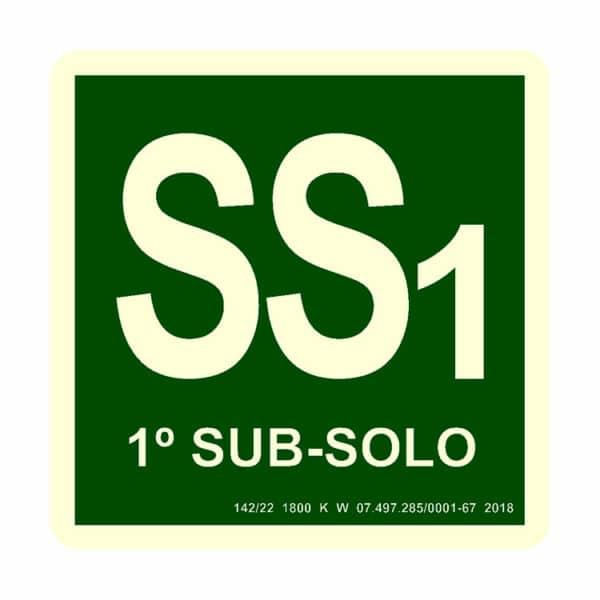 Placa de Sinalização Identificação 1 Subsolo