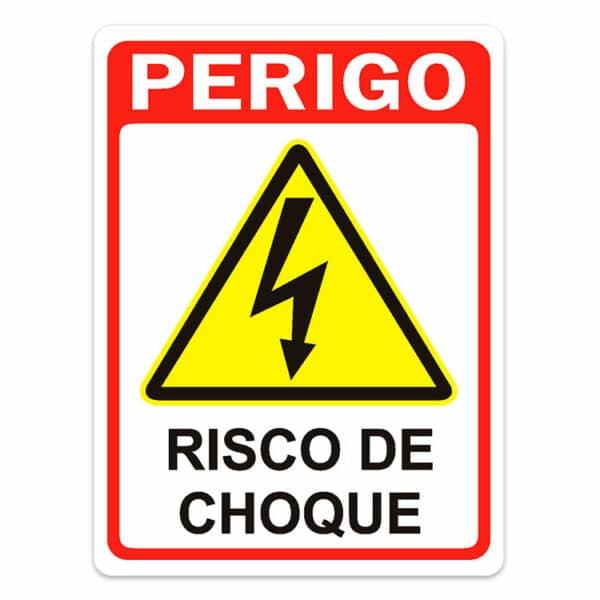 Placa de Sinalização Perigo Risco Choque